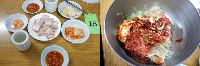 Repas avec quelques plats et des nouilles