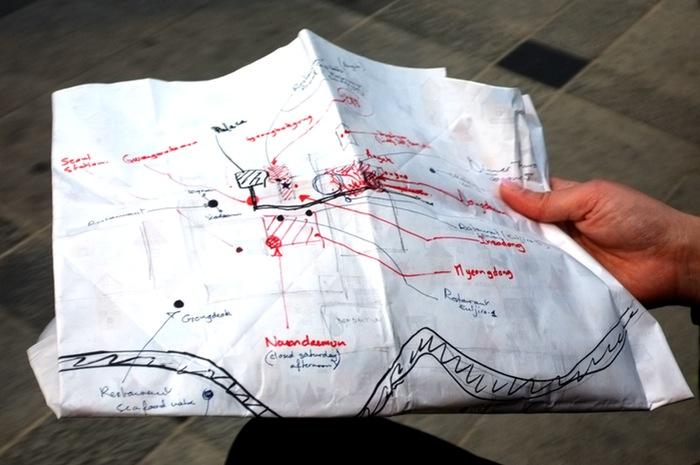 Carte artisanale avec lieux