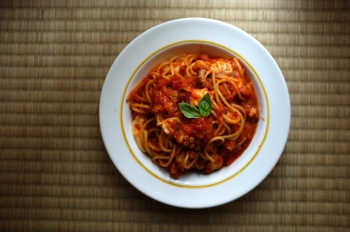 Plât de spaghetti à la pieuvre