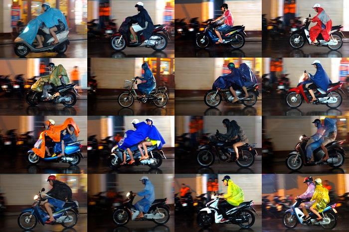 Mosaïques de motocyclistes