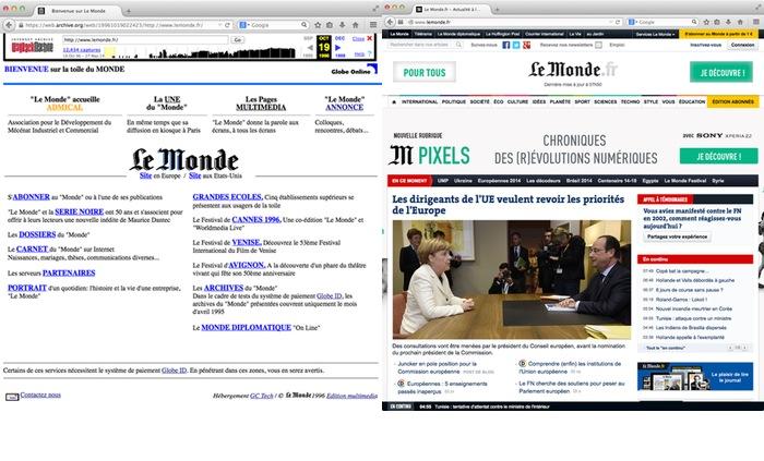 Page d'accueil avant et maintenant
