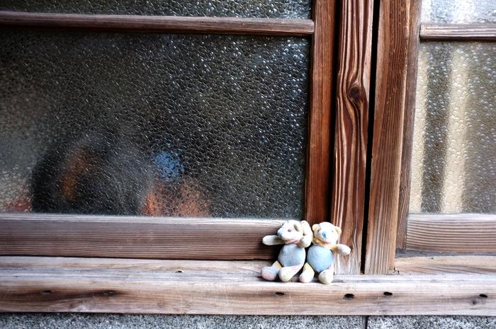 Deux peluches d'ourson au bord d'une fenêtre