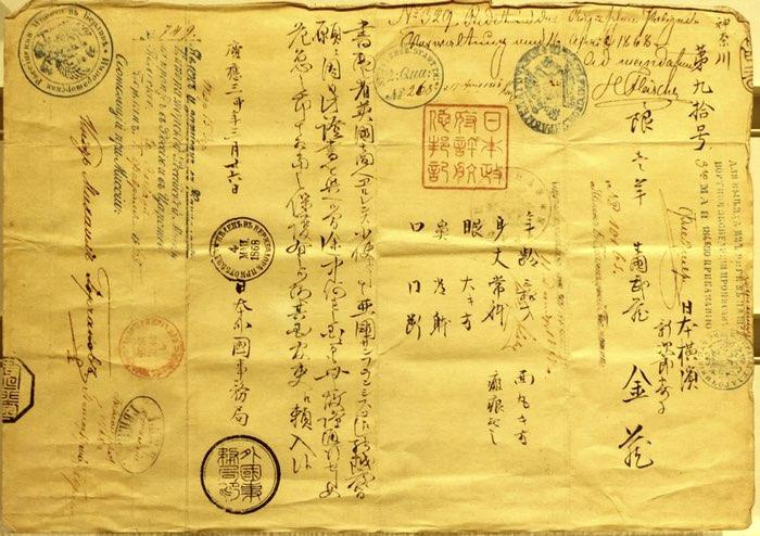 Papier avec de nombreuses écritures et tampons