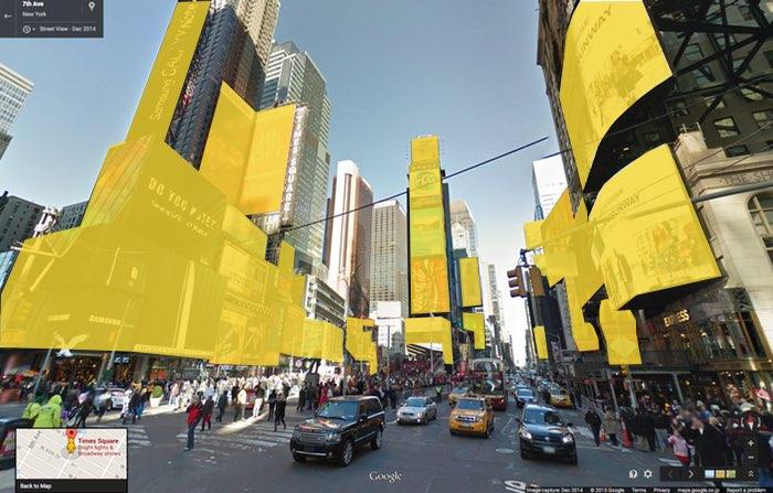 Vue de New-York Times Square avec zonage publicitaire