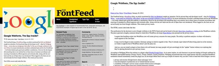 une page Web avec du style et sans son style