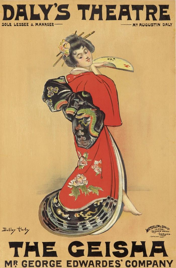 Affiche avec femme japonaise en kimono