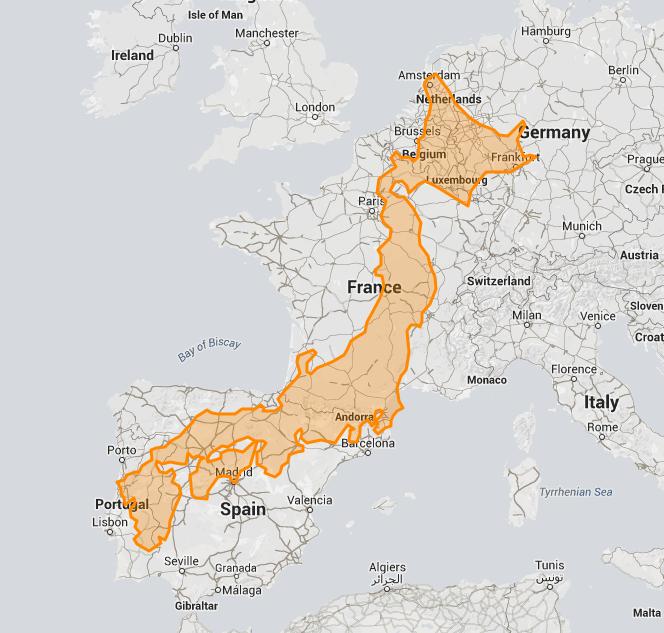 Carte Japon sur l'Europe