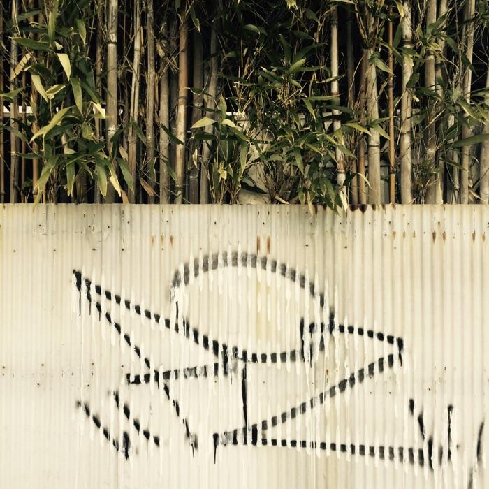 bambou et graffiti