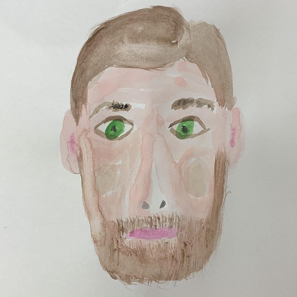 autoportrait aquarelle