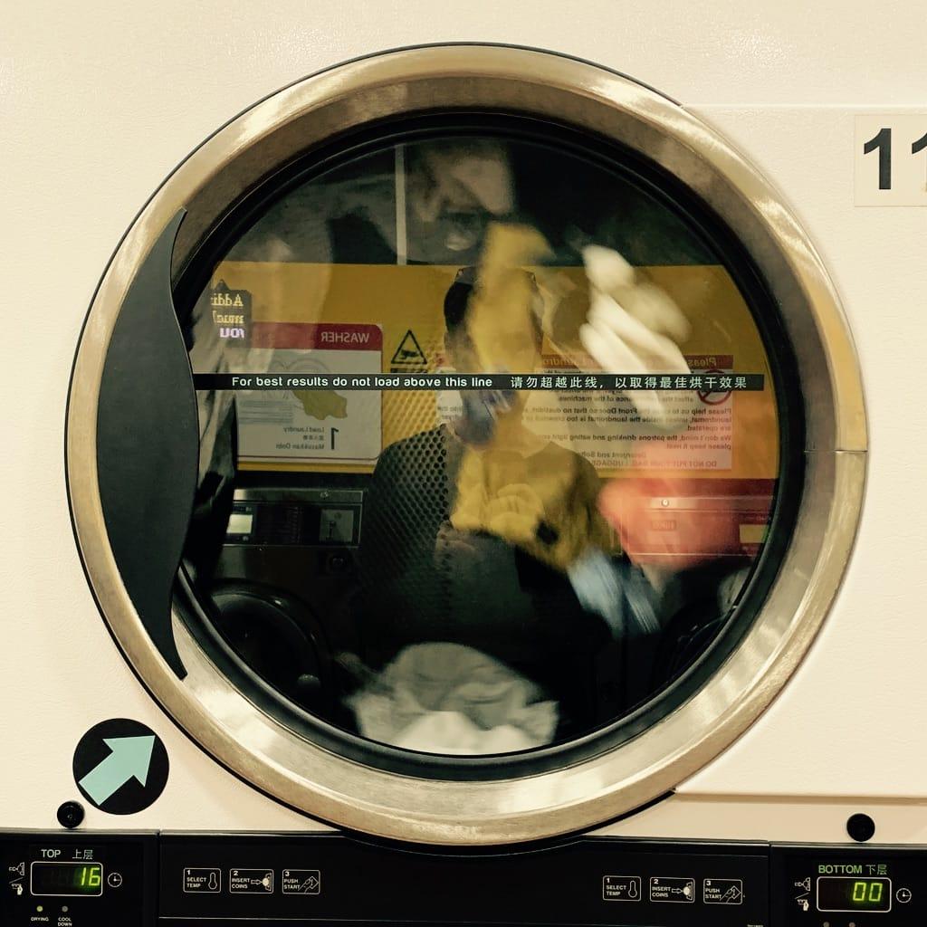 Tambour d'une lessiveuse avec reflet