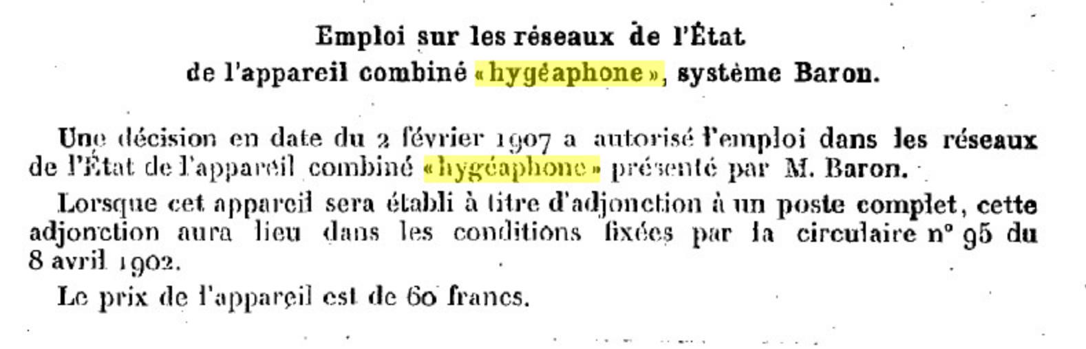 Texte de la mise en service de l'hygéaphone