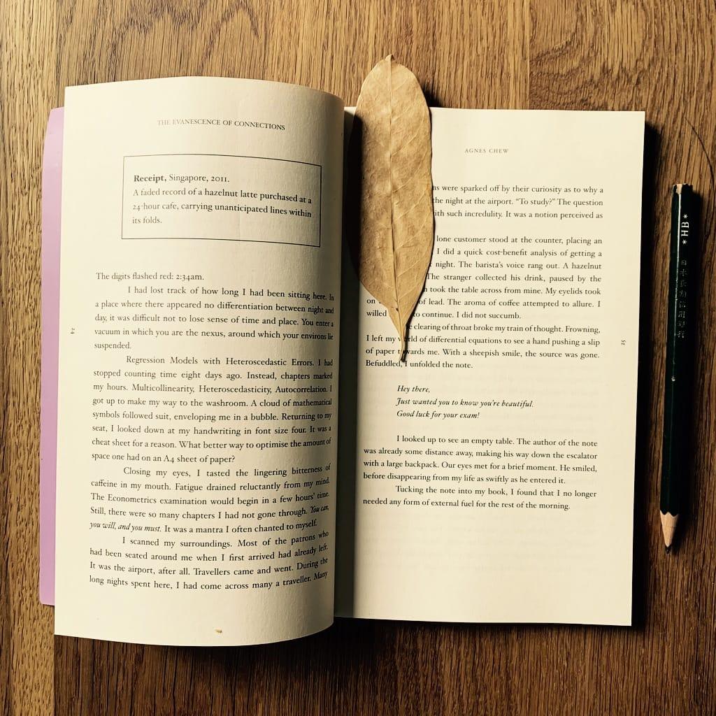 feuille d'arbre séchée sur un livre ouvert
