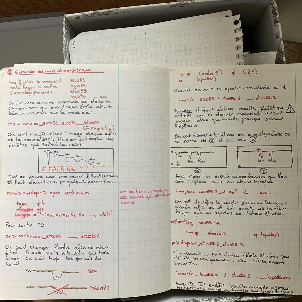 Cahier de notes astronomiques