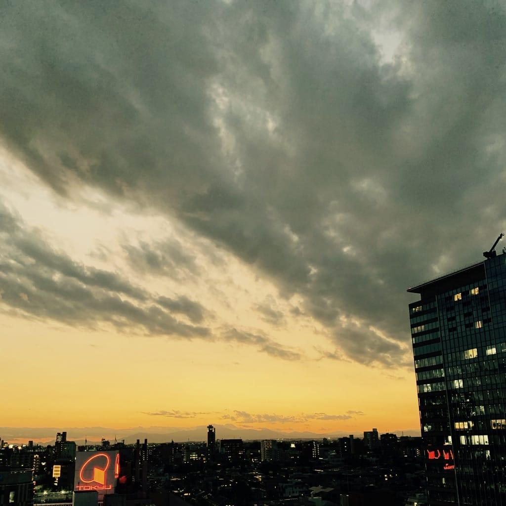 coucher de soleil, Fuji