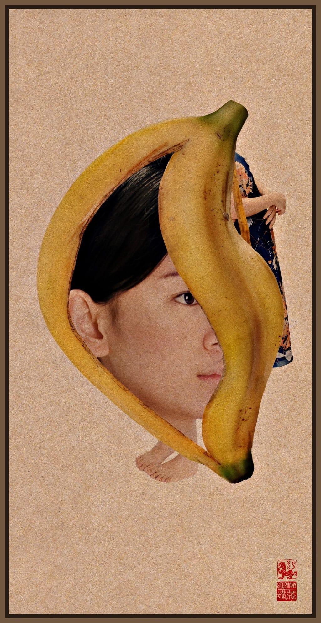 Banane sur un visage