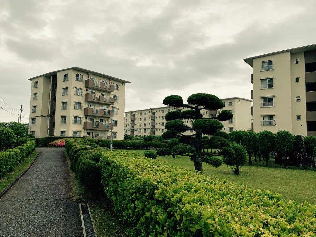 Cité d'immeubles avec des jardins.