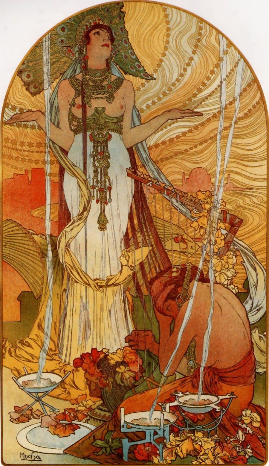 Femme avec les bras écartés priant.