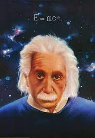 Visage de Einstein sur fond d'étoiles.