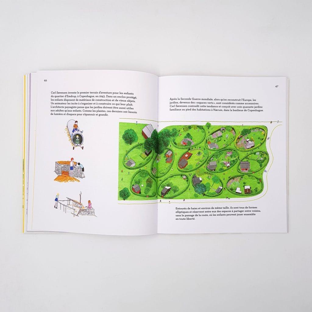 pages d'un livre illustrant un jardin.
